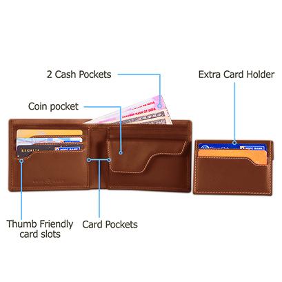 003 Tan Explorer Leather Wallet Anti Loss Electronic Smart Tech