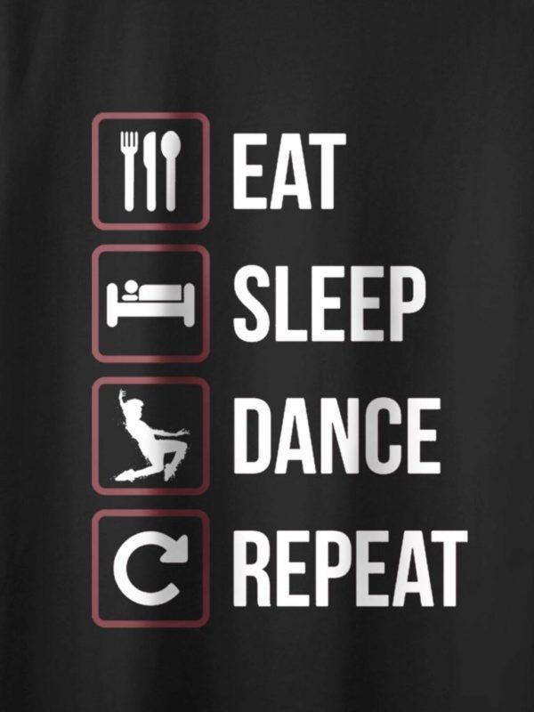 Eat Sleep Dance Repeat Black Crop Design