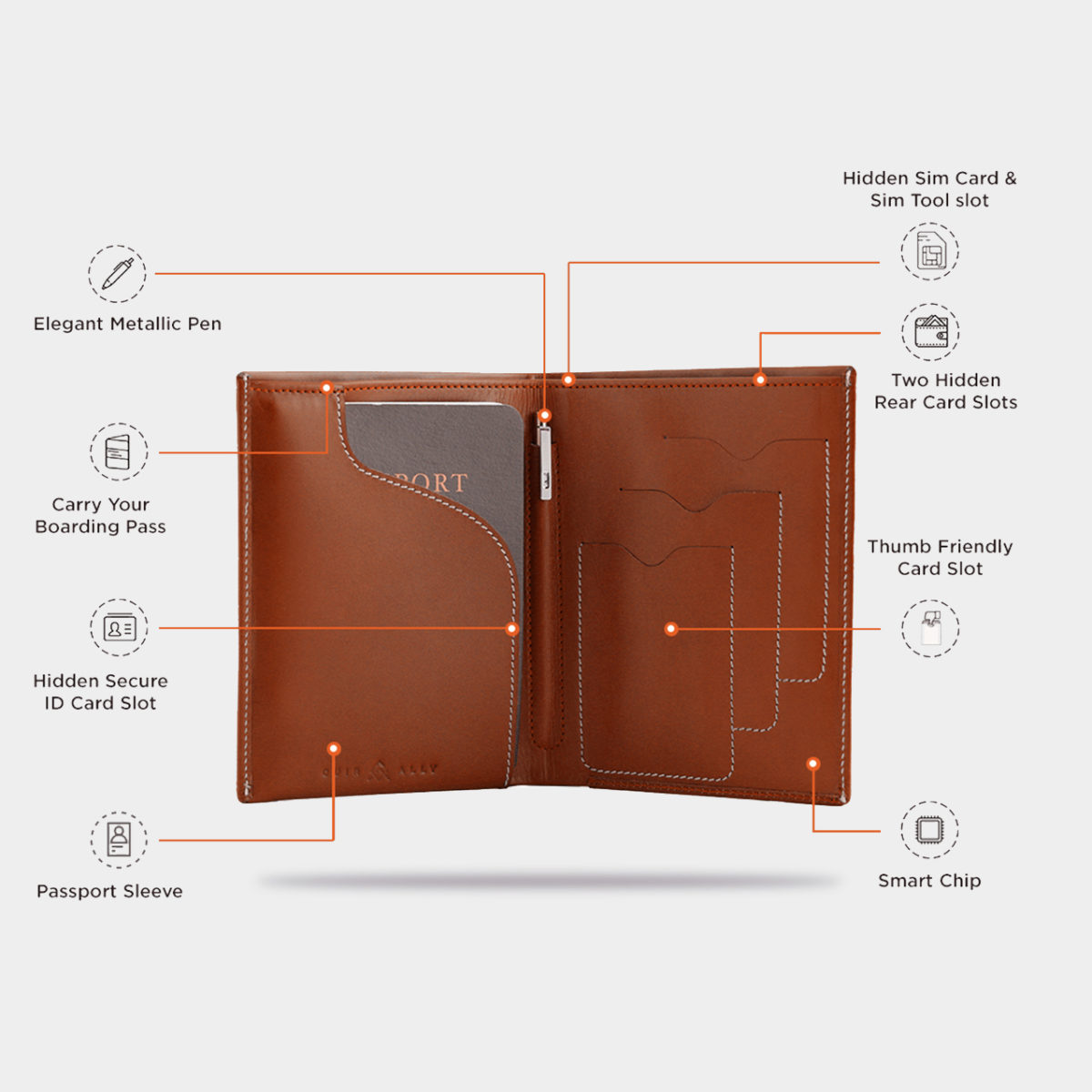 002 Tan Wallet with Smart Technology features