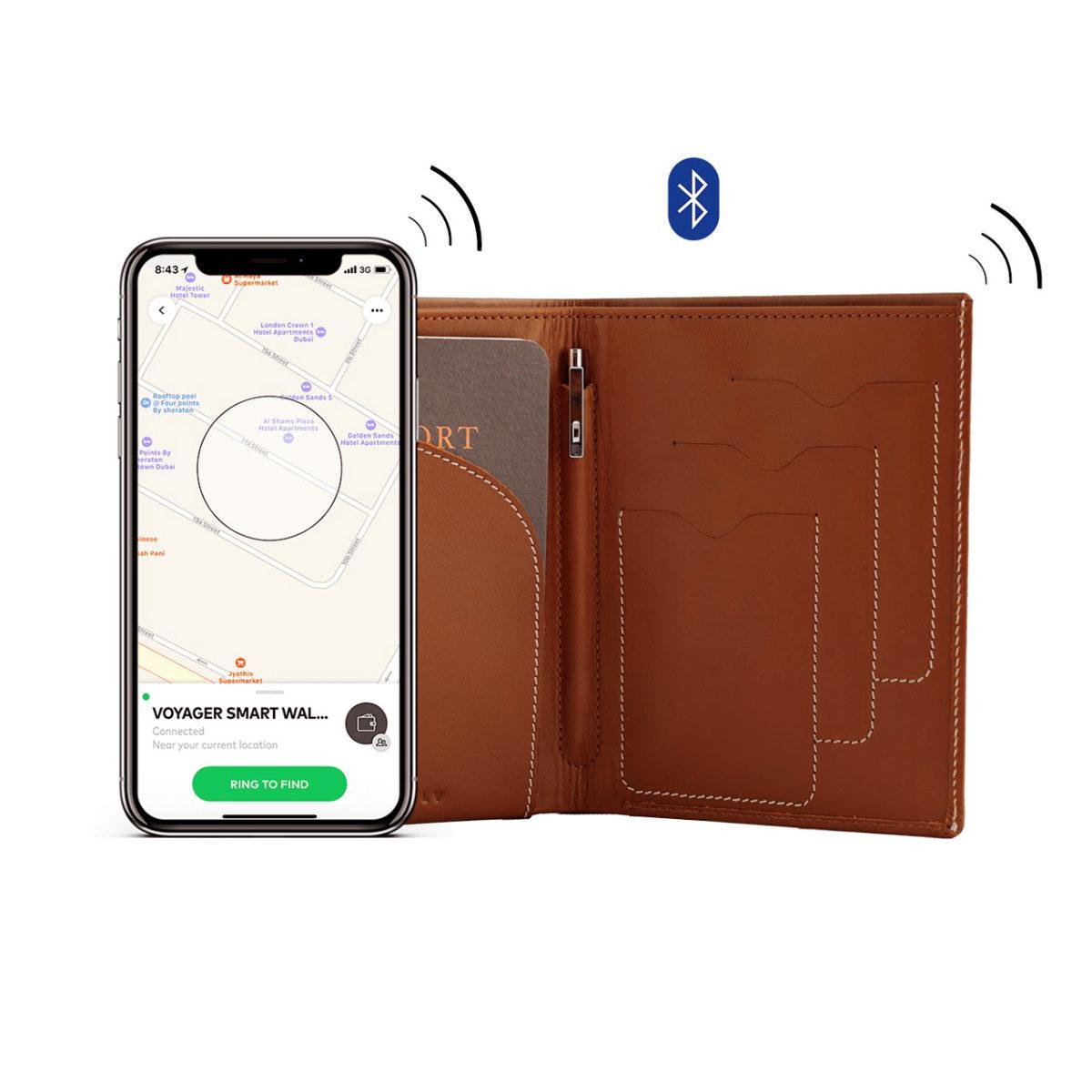01 Tan Voyager Leather Wallet Anti Loss Electronic Smart Tech