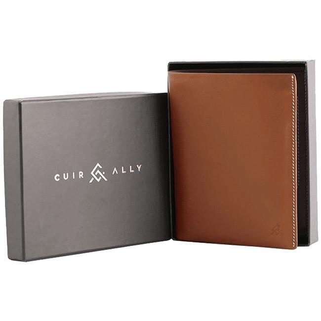 02 Tan Voyager Leather Wallet Anti Loss Electronic Smart Tech