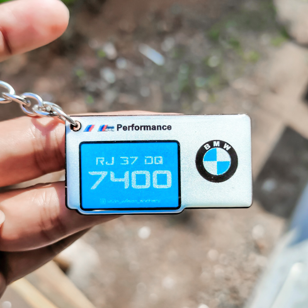 Gel Stylish Squre BMW White Sky Blue Logo